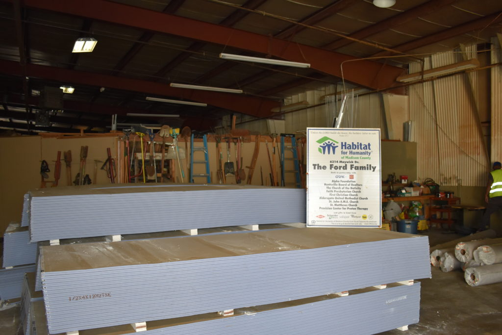 Part of the drywall donation